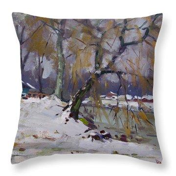 April Snow Storm Throw Pillow