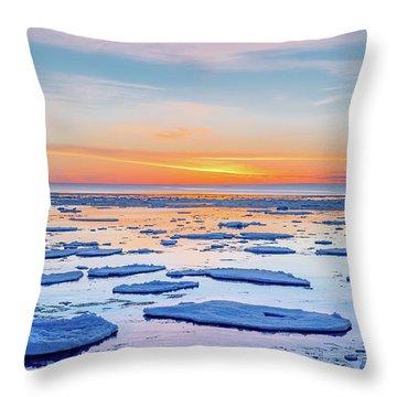 April Sunset Over Lake Superior Throw Pillow