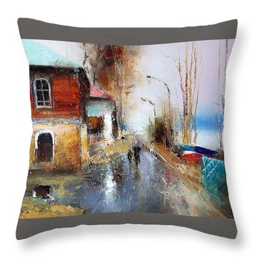 April. The River Volga Throw Pillow