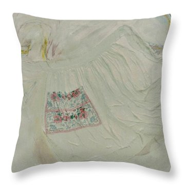 Apron On Canvas - Mixed Media Throw Pillow