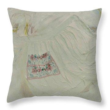 Apron On Canvas - Mixed Media Throw Pillow