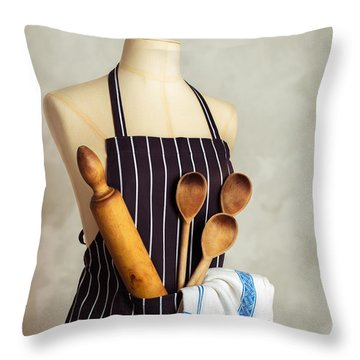 Apron With Utensils Throw Pillow