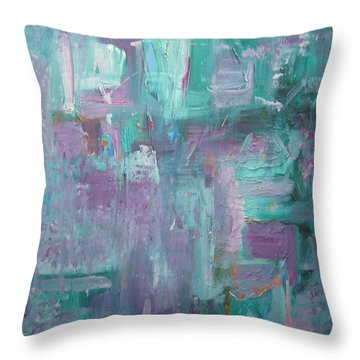 Aqua And Violet Enigma Throw Pillow by John Keaton