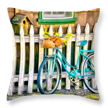 Aqua Antique Bicycle Along Fence Throw Pillow