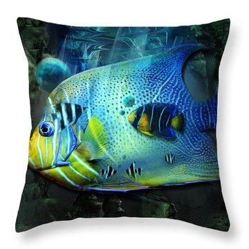Aqua Fantasy Art World Throw Pillow