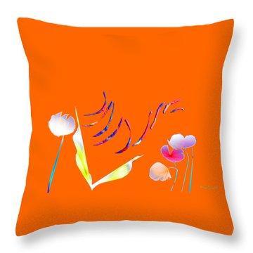 Throw Pillow featuring the digital art Aqua Flora by Asok Mukhopadhyay