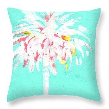 Aqua Marine Palm Throw Pillow