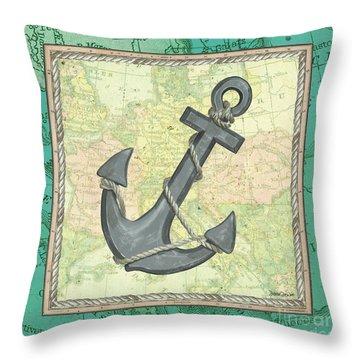 Aqua Maritime Anchor Throw Pillow