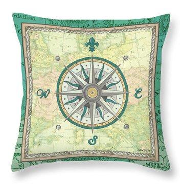 Aqua Maritime Compass Throw Pillow