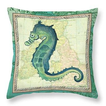 Aqua Maritime Seahorse Throw Pillow