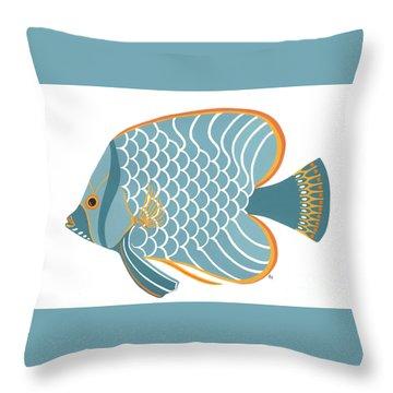 Aqua Mid Century Fish Throw Pillow