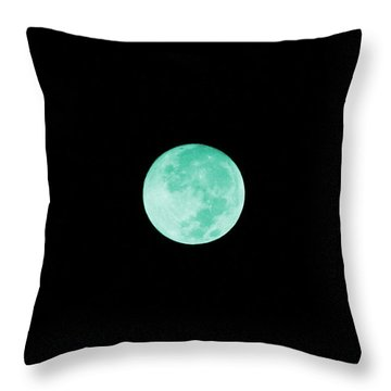 Aqua Moon Throw Pillow
