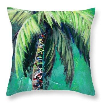 Aqua Palm Throw Pillow