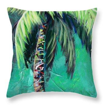 Aqua Palm Throw Pillow by Kristen Abrahamson