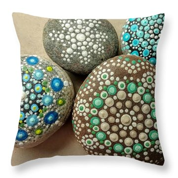 Aqua Pondering Pebbles Throw Pillow by Kathy Sheeran