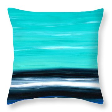 Aqua Sky - Bold Abstract Landscape Art Throw Pillow by Sharon Cummings