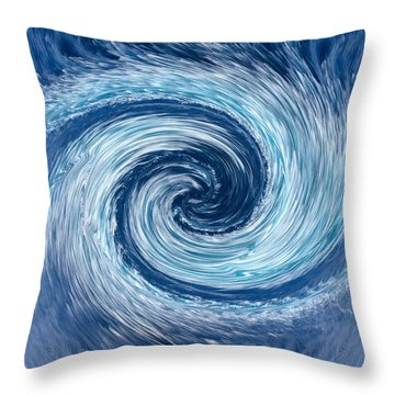 Aqua Swirl Throw Pillow by Keith Armstrong