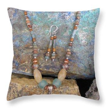 Aqua Terra Jasper #s52 Throw Pillow by Barbara Prestridge