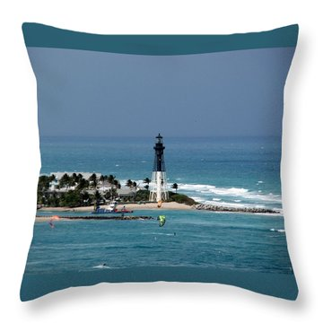 Aqua Water At Hillsboro Lighthouse In Florida Throw Pillow