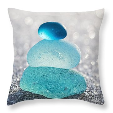 Aquamarine Ice Throw Pillow