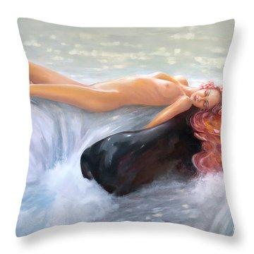 Aquamarine Sea Goddess Throw Pillow