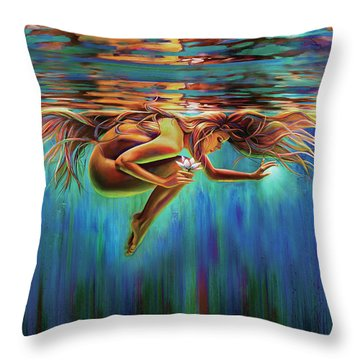 Aquarian Rebirth II Divine Feminine Consciousness Awakening Throw Pillow