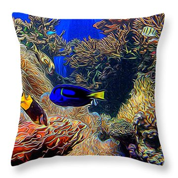 Aquarium Adventures In Abstract Throw Pillow