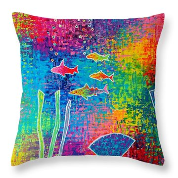 Aquarium Throw Pillow by Jeremy Aiyadurai