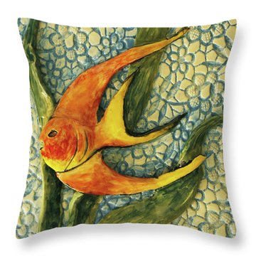 Throw Pillow featuring the photograph Aquarium On The Wall by Itzhak Richter