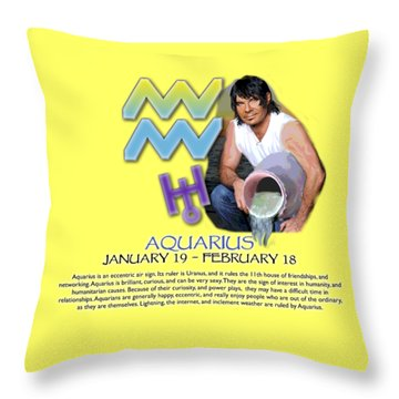 Aquarius Sun Sign Throw Pillow