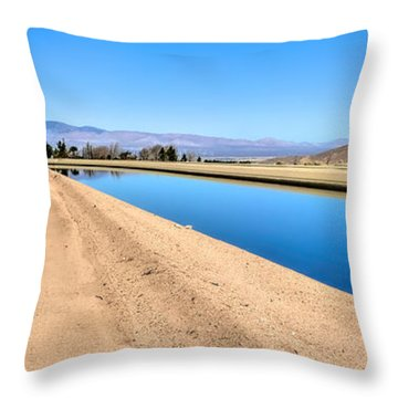 Aqueduct And The Tehachapi Mountains Throw Pillow