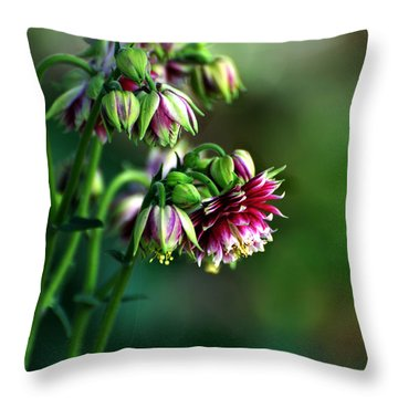 Aquilegia In Red And White Throw Pillow by Kathleen Stephens