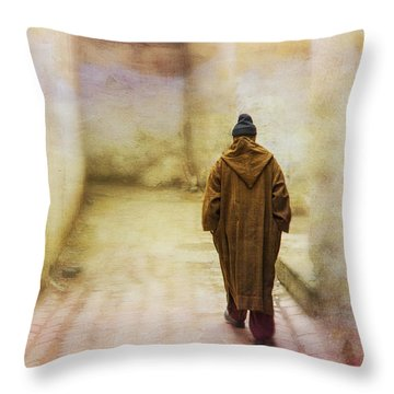 Arab Man Walking - Morocco 2 Throw Pillow
