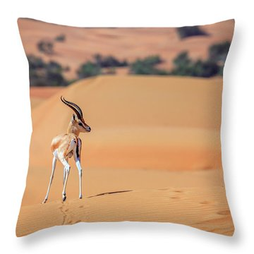 Throw Pillow featuring the photograph Arabian Gazelle by Alexey Stiop