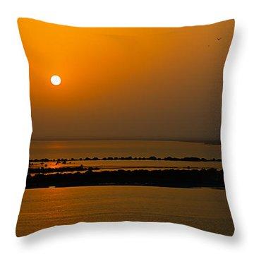 Arabian Gulf Sunset Throw Pillow
