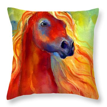 Arabian Horse 5 Painting Throw Pillow by Svetlana Novikova