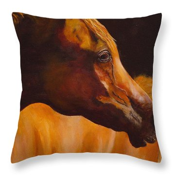 Arabian Horse Oil Painting Throw Pillow by Mary Jo Zorad