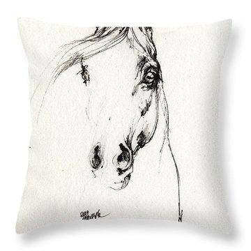 Arabian Horse Sketch 2014 05 29d Throw Pillow
