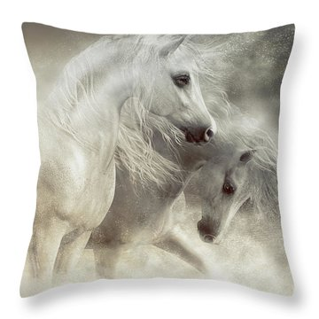 Throw Pillow featuring the digital art Arabian Horses Sandstorm by Shanina Conway