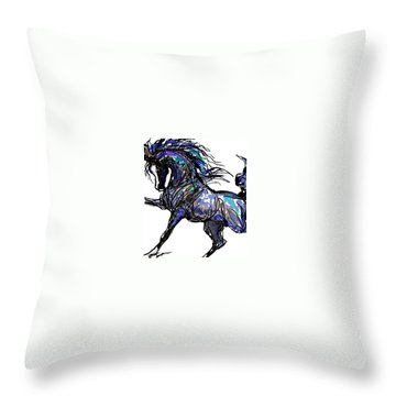 Arabian In Blue Throw Pillow