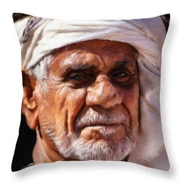 Arabian Old Man Throw Pillow by Vincent Monozlay