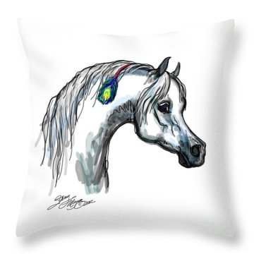 Arabian Peacock Feather Throw Pillow