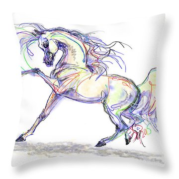 Arabian Stallion Talk Throw Pillow
