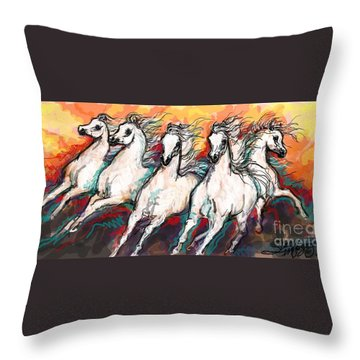 Arabian Sunset Horses Throw Pillow
