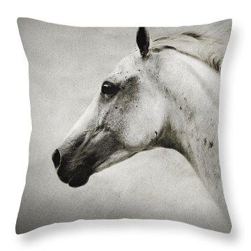Arabian White Horse Portrait Throw Pillow