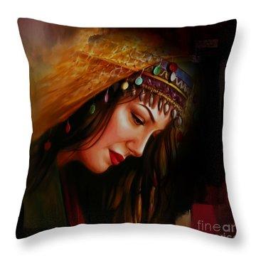 Arabian Woman 043b Throw Pillow by Gull G