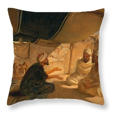 Arabs In The Desert Throw Pillow by Frederick Goodall