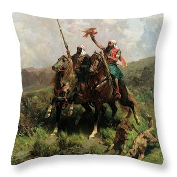 Arabs With A Falcon Throw Pillow by Alberto Pasini