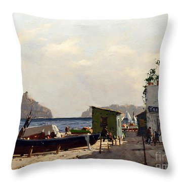 Throw Pillow featuring the painting Aragonese's Castle - Island Of Ischia by Rosario Piazza