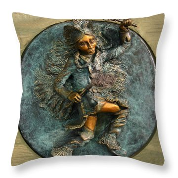 Throw Pillow featuring the relief Arapaho Dancer From Snowy Range Life  by Dawn Senior-Trask